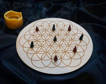 Crystal Board Sacred Geometry Wooden Flower of Life Grid