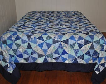 FREE SHIPPING Queen Size Blue Quilt Handmade Blue Illusion of Circles Quilt,  #13