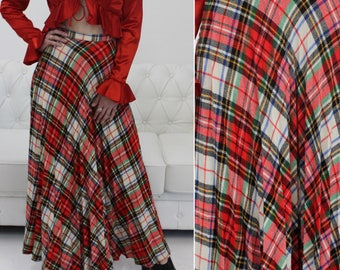 Classic Long Skirt, Long Plaid Skirt, Long Pleated Skirt, Long Skirt, Pleated Skirt, Vintage Plaid, Tartan Plaid, Wool Skirt, High Waist