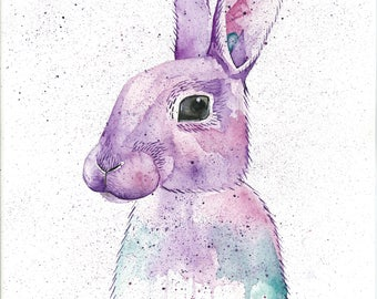 Rabbit art print-attack collective-ATK collective-woodland animal-watercolour-kids room decor