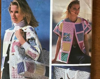 Simplicity 7893 - Shirley Botsford Quilted Jacket and Matching Tote Bag - Size Pt S M L