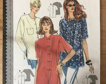 Burda 3729 - Button Front Blouse or Tunic with Slightly Extended Shoulders and Long or Short Sleeves - Size 8 10 12 14 16 18