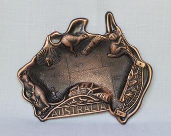 Australian Copper Ashtray, Australian Animals Ashtray, Vintage Australia Map Ashtray, Cigarette Souvenir Ashtray