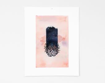 Night Sky / Watercolor / Print / Wall Decor