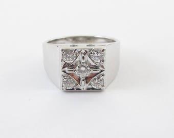 14k White Gold Men's Diamond Ring - 14k White Gold Men's Genuine Diamond ring Size 9 1/2