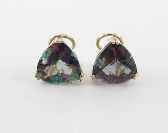 14k Yellow Gold Mystic Topaz Earrings - Trillion Shape Earrings