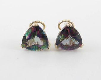 14k Yellow Gold Trillion Shape Mystic Topaz Earrings