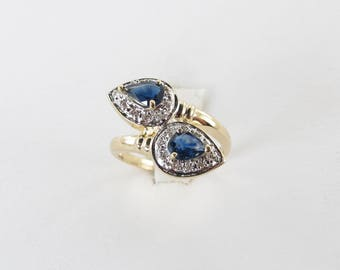 14k Yellow Gold Diamond And Sapphire Ring - 14k Yellow Gold Gemstones Snake Size 6 1/2