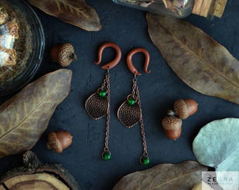 Green copper dangling hook ear tapers,hangers plugs,size 4,5,6,8,10,12,14,16,18,20 mm,6g,4g,2g,0g,00g,3/16,1/4,1/2,5/16,9/16,5/8,3/4,7/8""
