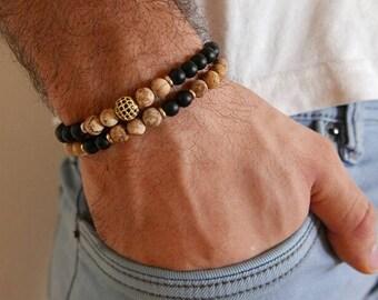 Men's Bracelet Set - Men's Beaded Bracelet - Men's Gemstone Bracelet - Men's Jewelry - Men's Gift - Husband Gift - Boyfriend Gift - Male