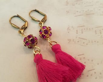Bright Pink Mini Tassels and Crystals EE-111
