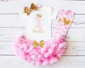 First Birthday Outfit Girl, 1st Birthday Outfit, Personalized First Birthday Onesie, Girls Gold Pink Princess Outfit, Pettiskirt, Legwarmers