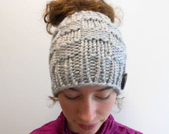 Messy Bun Beanie Messy Bun Hat Bun Hole Hat Ponytail Hat with Ponytail Hole Gift for Her - Handmade in Alaska Wool Blend Harbor Mist Gray