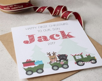 Baby's First Christmas Train Card, Personalised for Son, Daughter, Grandson, Granddaughter, Nephew or Niece