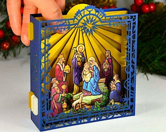 Pop Up Christmas Card, Christmas Card, Christmas Gift, Nativity Scene Christmas, Jesus Birth, Holy Night, Pop up Crib, Christmas 3d, gold