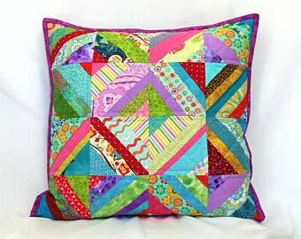 Colorful Patchwork Pillow, Quilted Pillow Cover, Throw Pillow, Shabby Chic Pillow, 18 x 18 Pillow, Pillow Sham, Decorative Pillow