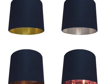 Navy Blue Cotton Lampshade - Choice of Inner Lining
