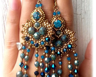 Turquoise/gold/inspired earrings Oriental, Thailand, Indonesia, ocean