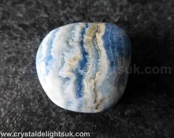 New Beautiful Calcite with Scheelite (Lapis Lace Onyx)  (15.8 grams / 26 mm) Tumbled Stone (16)   - FREE UK POSTAGE
