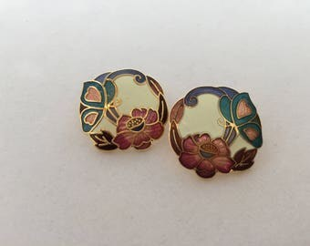 Vintage, Cloisonné, Floral and Butterfly, Stud Earrings