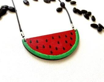 Fruit Necklace, Watermelon Necklace, Wooden Necklace, Fruit Necklace, Gift For Her, Summer Fruit Necklace, Best Friend Gift, Summer Necklace