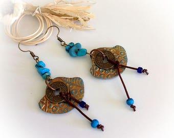 Earrings, Bohemian, boho, turquoise, polymer clay.