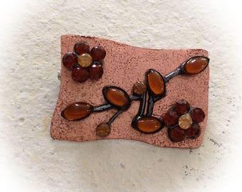 Brooch, copper, vintage style, rectangular.