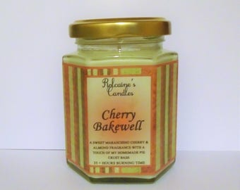 Strong Scented Candle Quality Fragrance Soy Wax Candle in 8 oz Glass Jar Cherry Bakewell