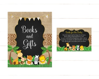 Safari Baby Shower Bring a Book Instead of a Card, Jungle Baby Shower Book Request, Baby Shower Book InsertInstant Download Printable 502
