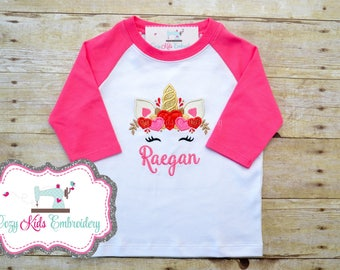 Unicorn Shirt, Valentine's Day Shirt, Girl's Valentine's Day Shirt, Valentine's Day Unicorn Shirt, Heart Shirt, Unicorn Embroidery Applique