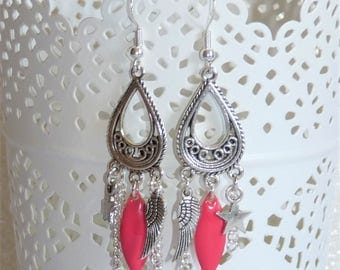 Earrings ' charm, dangle earrings Silver 925 and coral pink navette sequin star
