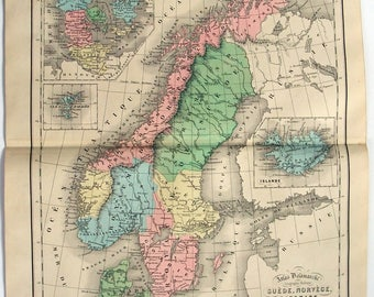 Original 1856 Dated Map of Sweden Norway & Denmark by Delamarche. Antique