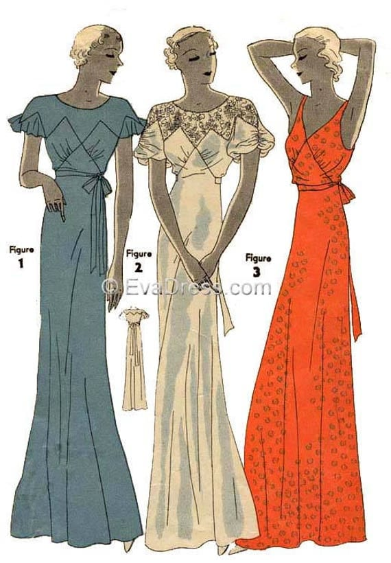 1930s Sewing Patterns- Dresses, Pants, Tops 1933 Nightgown Pattern by EvaDress $20.00 AT vintagedancer.com