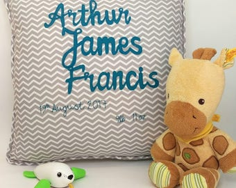 Name cushion - personalised cushion for new baby, Christening or Naming Day