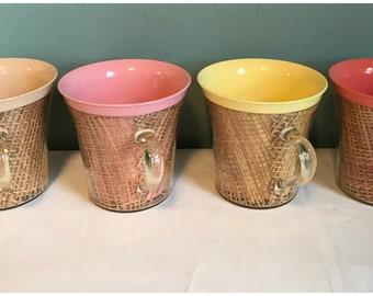 Vintage Raffia Ware Coffee Mugs, Set of 4.