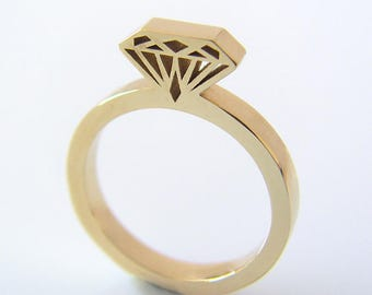 Gold diamond shaped ring, Diamond silhouette ring, Diamond shape ring, Diamond ring, Gold diamond ring