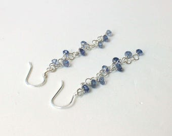 Iolite and sterling silver blue casual dangle earrings - Lilly