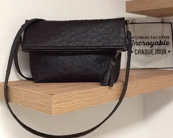 ostrich shoulder bag/black ostrich  pouch with strap/evening bag/clutch/vegan shoulder bag