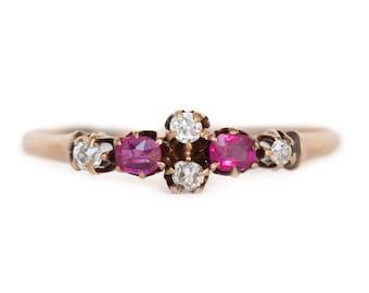 Circa 1870s Victorian 14K Yellow Gold .10cttw Natural Ruby & Diamonds Engagement Ring - VEG#923