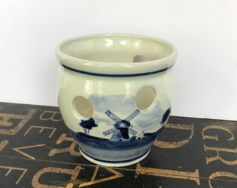 "Lovely Ceramic Crocus Planter Stamped on the bottom with ""HANDPAINTED DELFTS BLAUW Made in Holland"""