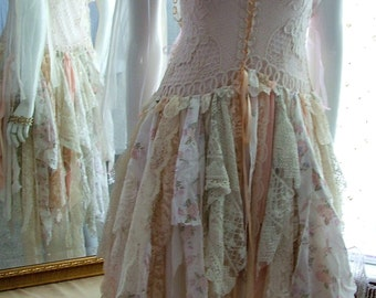 Bohemian lace up wedding dress french style shabby cottage tattered ragged event dress Size 5 - 10 pink peach ivory