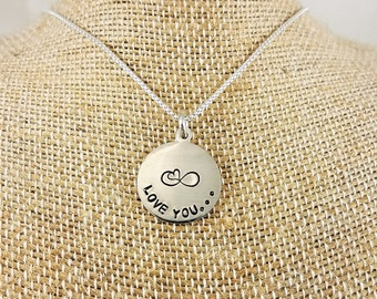 Sterling Silver Round Disc Necklace - Hand Stamped; Custom