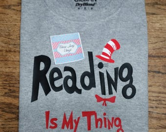 Youth Dr Seuss Shirt. Short Sleeve Dr Seuss I Am Shirt. Reading is my thing.