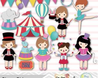Girls Circus Digital Clip Art, Baby Girl Circus Party, Circus Digital Clip Art, Circus Clipart, Carnival Clipart, Clown Girl,  0193