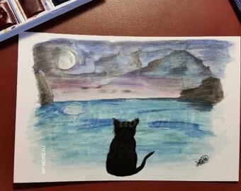 "Map postcard of original ""cat and Moon"""