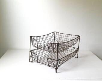 Antique Wire Office Basket . Two Tiered Vintage Wire Basket . Storage . Organization. Vintage Assignment Basket . Antique Wire Mesh Basket