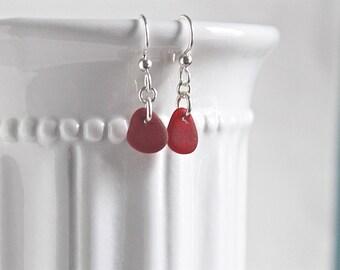 Tiny red sea glass earrings - sea glass jewelry - sterling silver earrings - ocean glass earrings - beach glass earrings - gift for her
