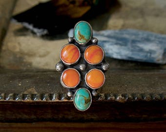 Spiny Oyster Shell and Tyrone Turquoise Cluster Ring