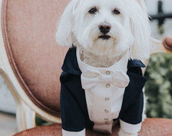 Royal blue dog tuxedo with white satin bow tie Dog wedding attire Formal dog suit Swallow-tailed dog coat Birthday dog costume