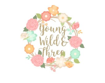 Young Wild and Three Sticker, Young Wild And Three Treat Bag Sticker, Boho Sticker, 3rd Birthday Sticker, Young Wild & Three